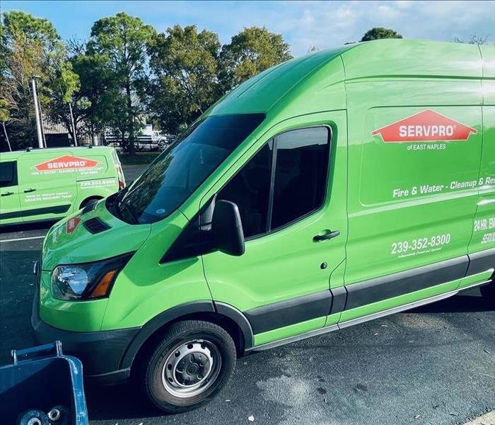 servpro vehicles at site