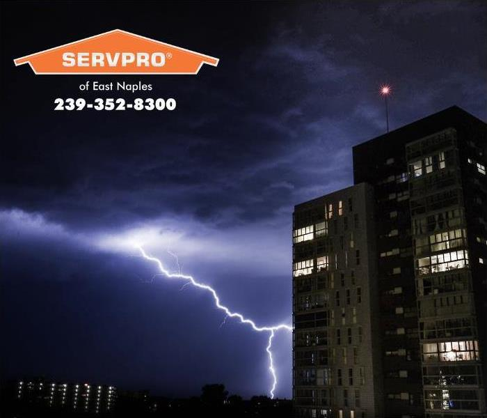 Lightning hitting a tall office building in Naples, Florida.